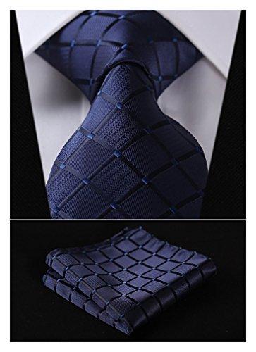 HISDERN Extra Long Check Tie Handkerchief Men's Necktie & Pocket Square Set (Navy Blue)