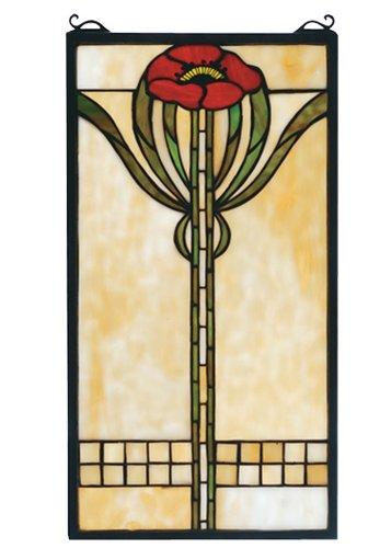 Meyda Tiffany 67789 Parker Poppy Stained Glass Window Panel, 11