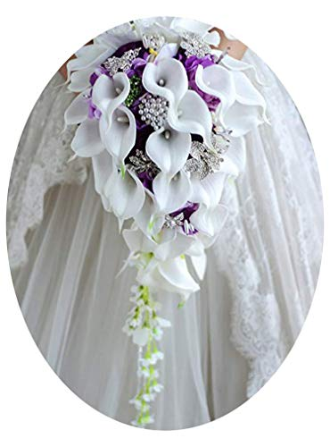 Bridal Wedding Bouquet, Royal Blue Rose Wedding Bouquet Waterfall Crystal Artificial Flowers White Bridal Pearl Bride Bouquet Fleur -