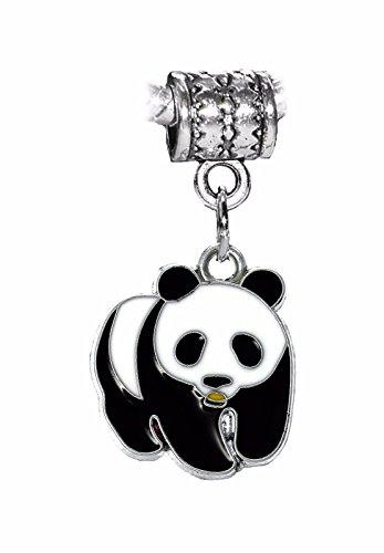 Panda Bear Black Enamel Zoo Animal Dangle Charm for Silver European Bracelets Crafting Key Chain Bracelet Necklace Jewelry Accessories Pendants ()