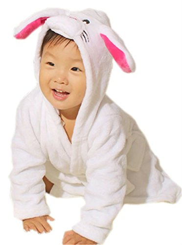 [Betusline Kids Boy Girl Baby Cartoon Animal Hooded Pajamas Bath Robes Rabbit] (Plus Size Hooded Monk Robe Costumes)