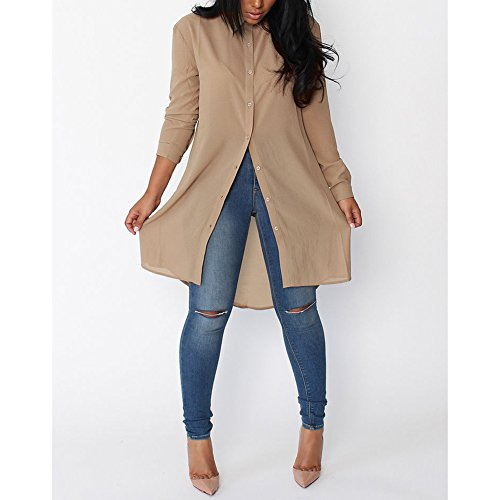 Hibote Chemise Longue Pour Femme Mode Casual Loose Mousseline de Soie  Tunique à Manches Longue Mini 792213f1861c