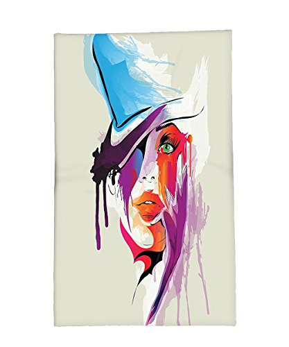 [Interestlee Fleece Throw Blanket Girly Decor Collection Digital Abstract Woman Face Figure with Splash Paint Drops Modern Artsy Picture Grey Purple Blue Red] (Ninja Turtle Face Paint)