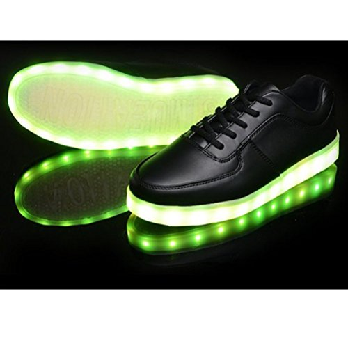 (Presente:pequeña toalla)JUNGLEST® 7 Colores USB Carga LED Luz Glow Luminosos Light Up Flashing Sneakers Zapatos Deportivos d Low Negro