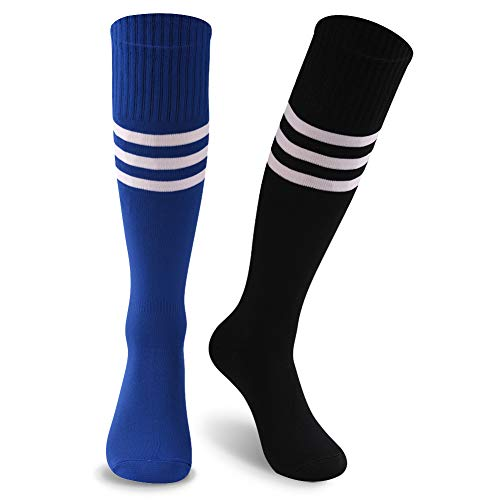 Plus Size Cheerleader Uniforms (KitNSox Long Volleyball Socks for Men, Unisex Stripes Colored Smooth Comfy Plus Size Sports Football Cheerleader Uniform Casual School Dress Socks 2 Pairs)