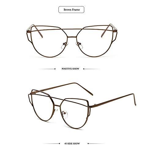 Lunettes Cadre nbsp;– de Clair nbsp;œil Objectif de rétro marron Unisexe en Oculos Homme avec pour Femme Lunettes Lunettes métal Cadre Hykis Eyewear pour Chat Grau PRw4Pdq