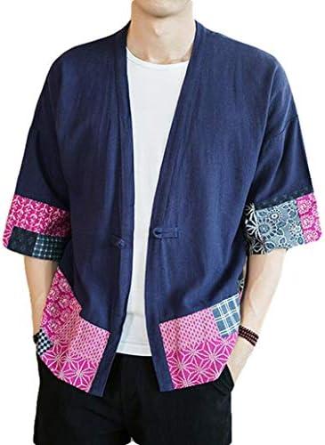 [Ksila]メンズ カーディガン 綿 麻 シャツ 半袖 ゆったり 和式パーカー プリント柄 和風 コート カジュアル 前開き コーディガン 大きいサイズ 夏