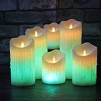 wangZJ Control remoto Cambio de color/velas de cera led/sin llama ...