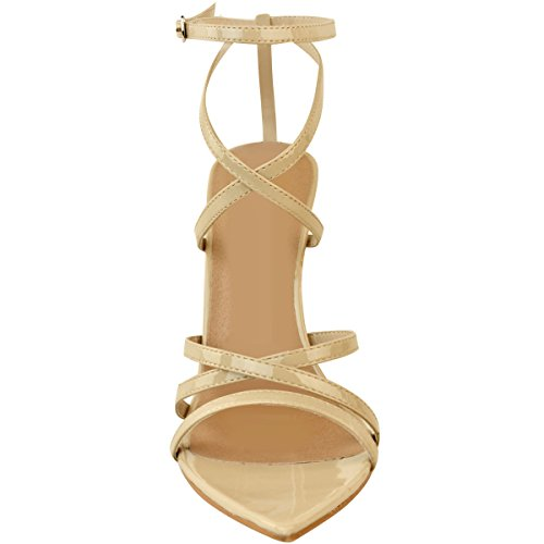 Heelberry® Womens Ladies Barely There High Heel Party Bridal Sandals Ankle Strappy Shoes Nude Patent efJQX