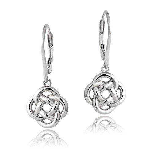 - Sterling Silver Love Knot Flower Dangle Leverback Earrings