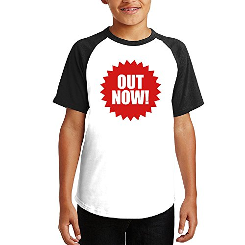 Out Now   Button Short Sleeve 100% Cotton Unisex Raglan Tshirt