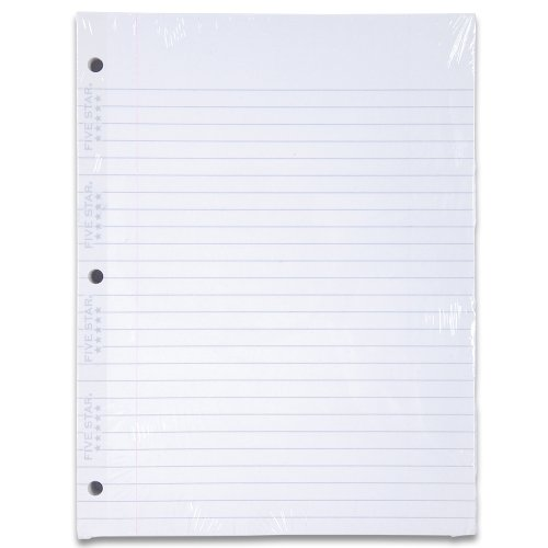 Five Star Filler Paper, Wide Ruled Paper, 110 Sheets/Pack, 10-1/2'' x 8'', Reinforced, Loose Leaf, White (15106) by Mead (Image #1)