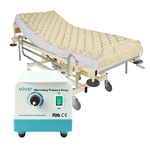 Vive Alternating Pressure Pad - Includes Mattress Pad and Electric Pump System - Quiet, Inflatable Bed Air Topper for Pressure Ulcer and Pressure Sore Treatment - Fits Standard Hospital Bed ()