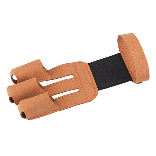 - Archery Protector 3 Finger Tab Glove with Leather Wrist Strap Shooting Protect Guard for Hunting Compound Recurve Bows