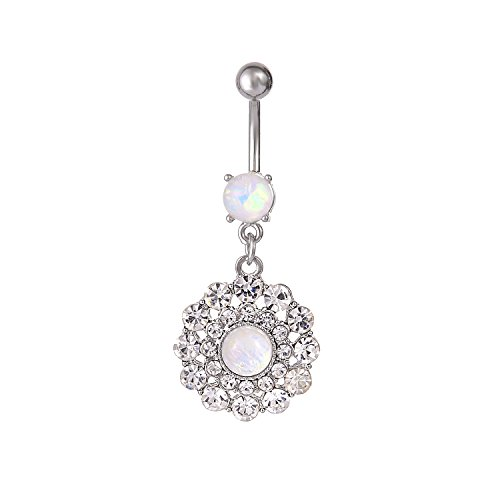 CABBE KALLO Belly Button Rings 14G Opal Jeweled Flower 316L Surgical Steel Navel Body Piercing Jewelry (Crystal Clear 14G=1.6mm)