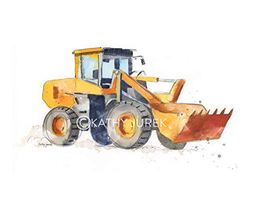 Matte Giclee Art (Nursery Wall Decor | Orange Construction, Excavator Truck Wall Art Print for Kids Room | 8.5 x 11 Inch Gallery Quality Fine Art Giclée Print)