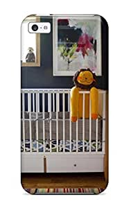 Rolando Sawyer Johnson's Shop 8785140K77109209 Tough Iphone Case Cover/ Case For Iphone 5c(contemporary Nursery With Blue-gray Walls Crib 038 Stuffed Yellow Lion Doll)
