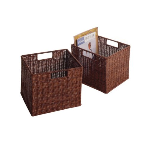 Winsome Indoor Home Office Accent Wood Milan 6 Piece Cabinet Shelf with 5 Rattan Storage Baskets in Antique Walnut Finish