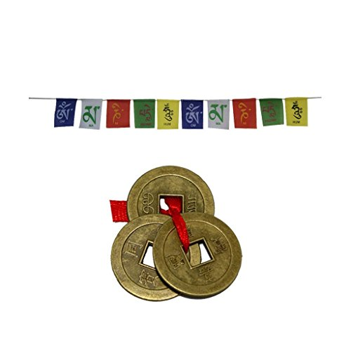 Divya Mantra Prayer Flags & Feng Shui Coins Combo Standard Multi
