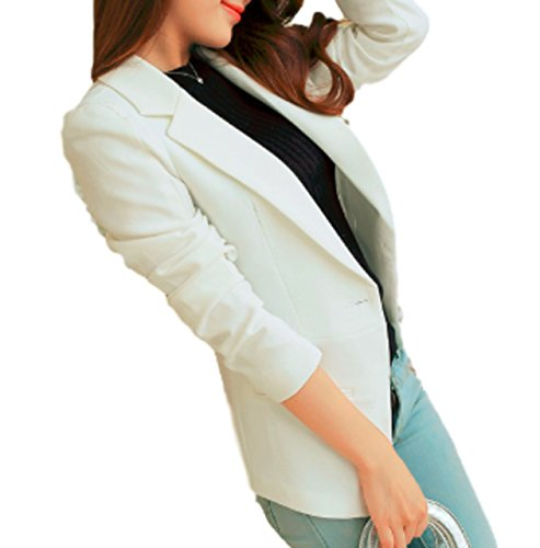 City Blazer (Goodhoop Women's Casual Work Office Knit Blazer Jacket Slim Fit Open Front Cardigan (X-Large, White) Fitting Peplum Adjustable Nylon Dance School semi City Community Explain Org Important Management)