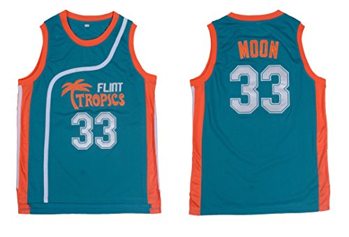 Jackie Moon #33 Flint Tropics Semi Pro Movie Retro Throwback Basketball Jersey Embroidery (X-Large, (Green Throwback Jersey)