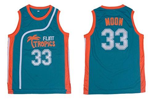 Jackie Moon #33 Flint Tropics Semi Pro Movie Retro Throwback Basketball Jersey Embroidery S-XL (Medium, Green) (Green Throwback Jersey)