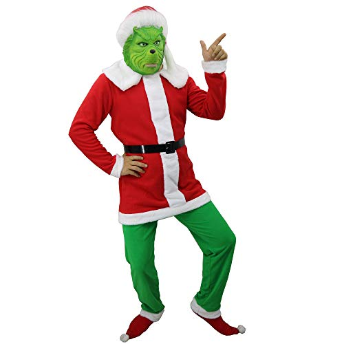 MostaShow Grinch Mask with Santa Suit Full Head Latex Mask for Christmas Cosplay Costume New Year Party (Grinch Suit (L Size))