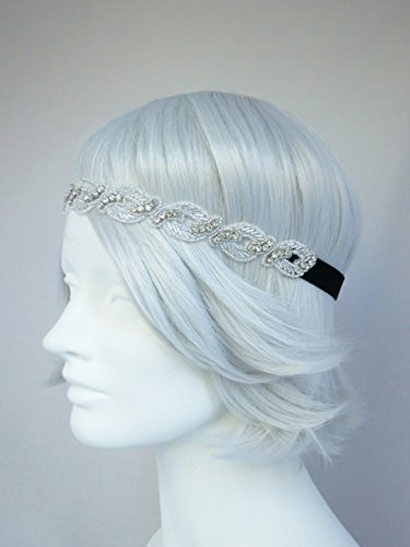 Belle Stretch Costumes (Starlet Flapper Headband Silver and Rhinestone, Stretch Headband, Gatsby Style, Deco)