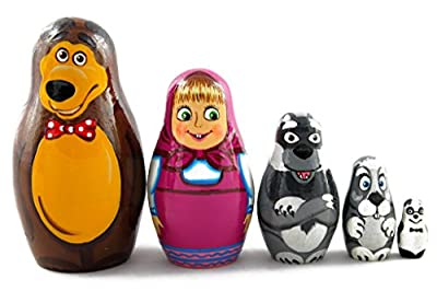 Matryoshka Matrioska Babuska Russian Nesting Wooden Doll Masha And Bear Matryoshika Babushka 5 Pcs Stacking Hand Painting Beautiful Nested Matriosjka Matrioska Matreshka Matrjoska Matroeska