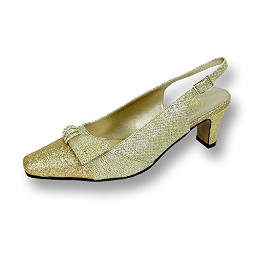 FIC FLORAL Emma Women Wide Width Evening Dress Shoe for Wedding, Prom, and Dinner