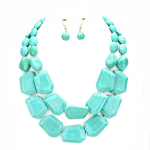 Pearl And Glass Bead Earrings (Uniklook Statement Layered Strands Chunky Mixed Beads Necklace Earrings Set Gift Bijoux (Turquoise))