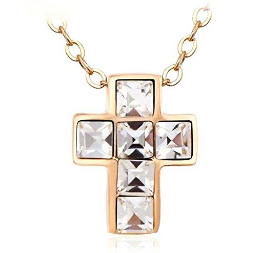 Half Demon Half Angel Costume (Aooaz Pendant Necklace For Women Ladies, Christ Cross AAA Cubic Zirconia Rose Gold Wedding Necklace Jewelry)