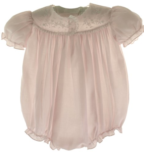 - Feltman Brothers Infant Girls Pink Embroidered Bubble Outfit Layette - 9M