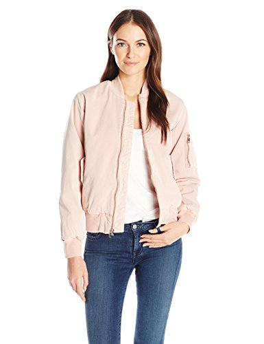 Hudson Jeans Women's Gene Puffy Bomber Jacket, Sun Kissed Pink Destructed, Medium