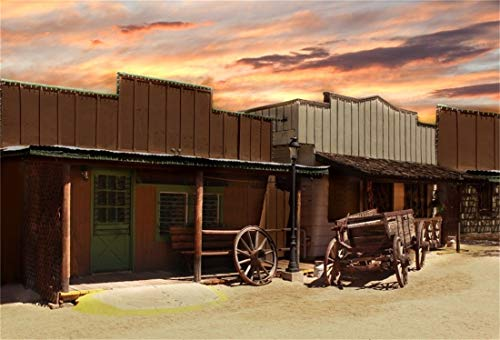 - Yeele 10x6.5ft Western Saloon Wild Photography Background Gold Rush Retro Hackberry General Store Carriage Far West Iron Room Fire Cloud Photo Backdrops Pictures Photoshoot