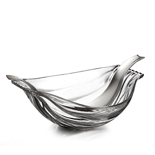 Nambé MT0988 Drift Glass Salad Bowl with Servers, Clear by Nambé