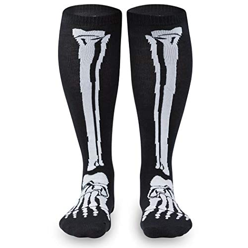 Skeleton Halloween Knee High Half Cushioned Athletic Running Socks Fun Running Socks by Gone For a Run, One Size
