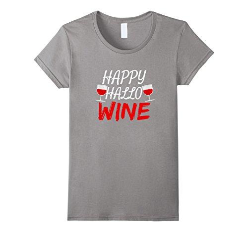 [Womens Happy Hallo Wine Shirt Funny Halloween Shirt for Wine Lovers XL Slate] (Office Themed Halloween Costume Ideas)