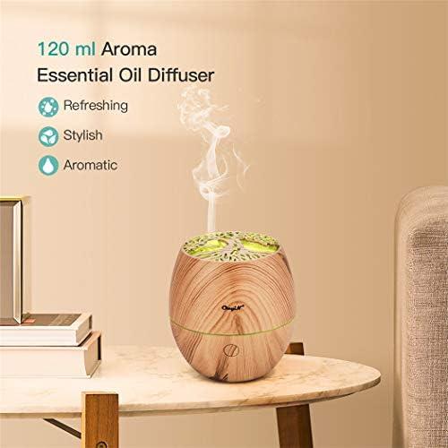 CkeyiN 120ml Mini Diffuseurs d'huiles essentielles Humidificateur avec 7 Couleurs Lumières LED Technologie ultra-silencieuse pour la Maison, Yoga, Bureau, SPA(Bois Veine) …