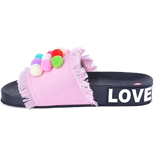Btrada Denim Sandals For Women-Candy Color Flats Shoes-Summer Non-Slip Thick Bottom Slides Pink h4Dka