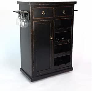 Amazon.com: Wayborn Yoshi Wine Cabinet in Distressed ...