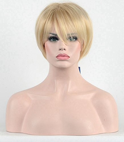 Diy-Wig Short Pixie Style Mixed Blonde Highlight Synthetic Cosplay Custome Wig for (Blonde Pixie Wig Halloween)