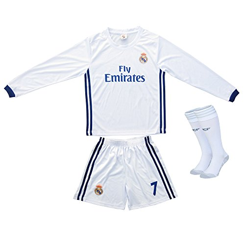 new style ae8a7 c0aba 2016/2017 Real Madrid RONALDO #7 Home Long Sleeve Soccer ...