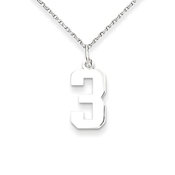 Amazon athletic sm sterling silver number 3 pendant bundled amazon athletic sm sterling silver number 3 pendant bundled with a 125mm 16 inch sterling silver cable chain jewelry mozeypictures Images
