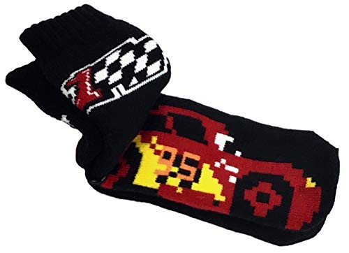 Disney Pixar Cars 3 Lightning McQueen Boys Non-Slip Slipper Socks Black Red Size 7.5-3.5