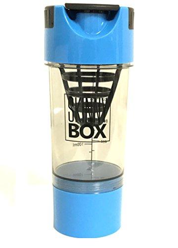 PROTEIN DRINK SHAKER MIXER BOTTLE 16oz, 500ml Protein Mixer & Blender with Twist & Go Storage for Workout Powder Supplements, Pre Workout, BCAA, Creatine, Whey