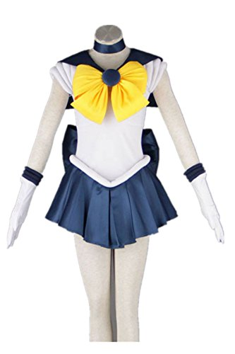 [Japanese Anime Sailor Moon Uniform Cosplay Costume Dress 7 Pcs Set - 23 Options] (Sailor Saturn Costume)
