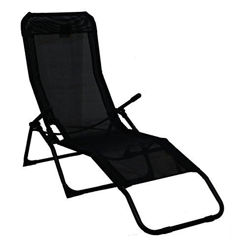 Rocker Lounger Black Sun Chair Recliner Outdoor Garden Furniture Folding...