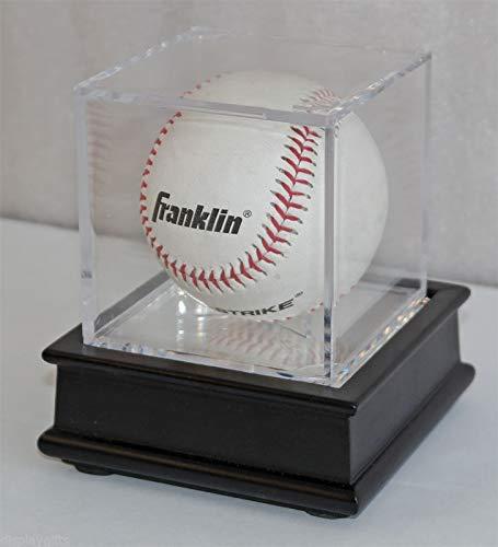 SAN-SAN Baseball/Billiards Ball Holder Display Case Cube, Black Wooden Stand - Cabinets Baseball Display