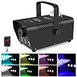 [2019 Upgraded] MVPower Fog Machine, 500W Smoke Machine with LED Lights and Wireless Remote Control for Christmas Halloween Parties Weddings Stage, Black